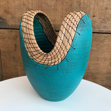 Load image into Gallery viewer, Teal Hand Thrown Ceramic Vase (FREE SHIPPING)