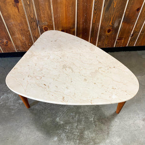 Travertine & Walnut Guitar Pick Shaped Side Table (FREE SHIPPING)