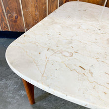 Load image into Gallery viewer, Travertine & Walnut Guitar Pick Shaped Side Table (FREE SHIPPING)