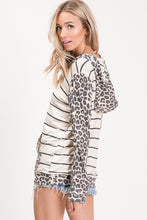 Load image into Gallery viewer, River Leopard/Stripe Hooded Sweatshirt