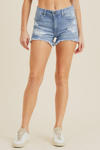 Mia Distressed Denim Shorts-Medium Wash
