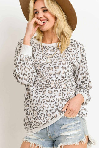 Ada Leopard Top - Heather Grey