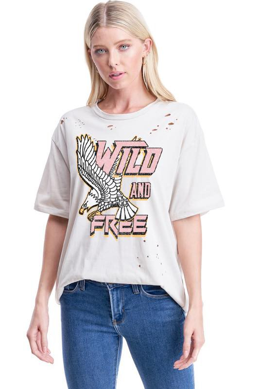 Wild and Free Distressed Graphic- Lt Khaki