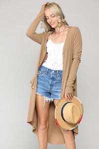 Kaydan Ribbed Button Cardigan - Camel
