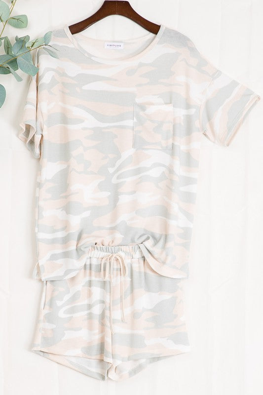 Camo Print Lounge wear Top