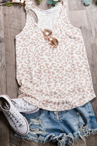 Leopard Print Loungewear Top-Taupe