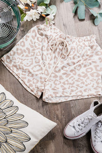 Leopard Print Loungewear Bottoms-Taupe