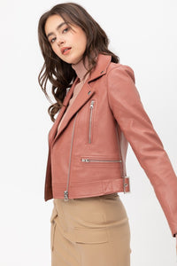 Downtown Girl Faux Leather Jacket-Mauve