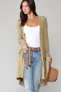 Kaydan Ribbed Button Cardigan - Olive