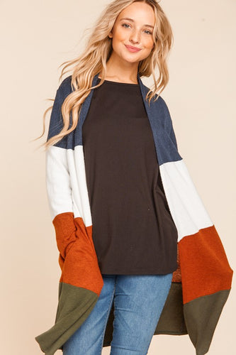 Look My Way Color Block Cardigan