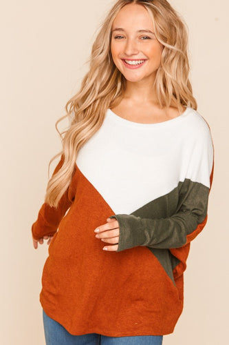 Keep In Touch Color Block Sweater-Curvy