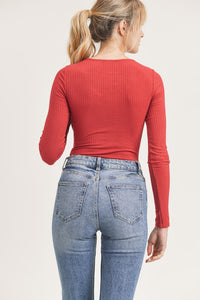 Ember Ribbed Bodysuit- Red