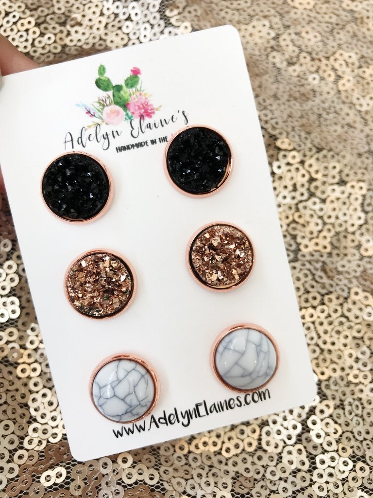 Druzy Earring Trio--Rose Gold