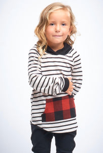 KIDS Holly Striped/Plaid Hoodie