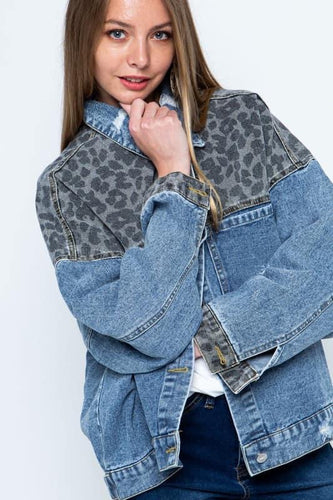 Bev Leopard Boyfriend Denim Jacket