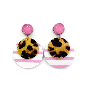 Pink + Leopard Leather Earrings