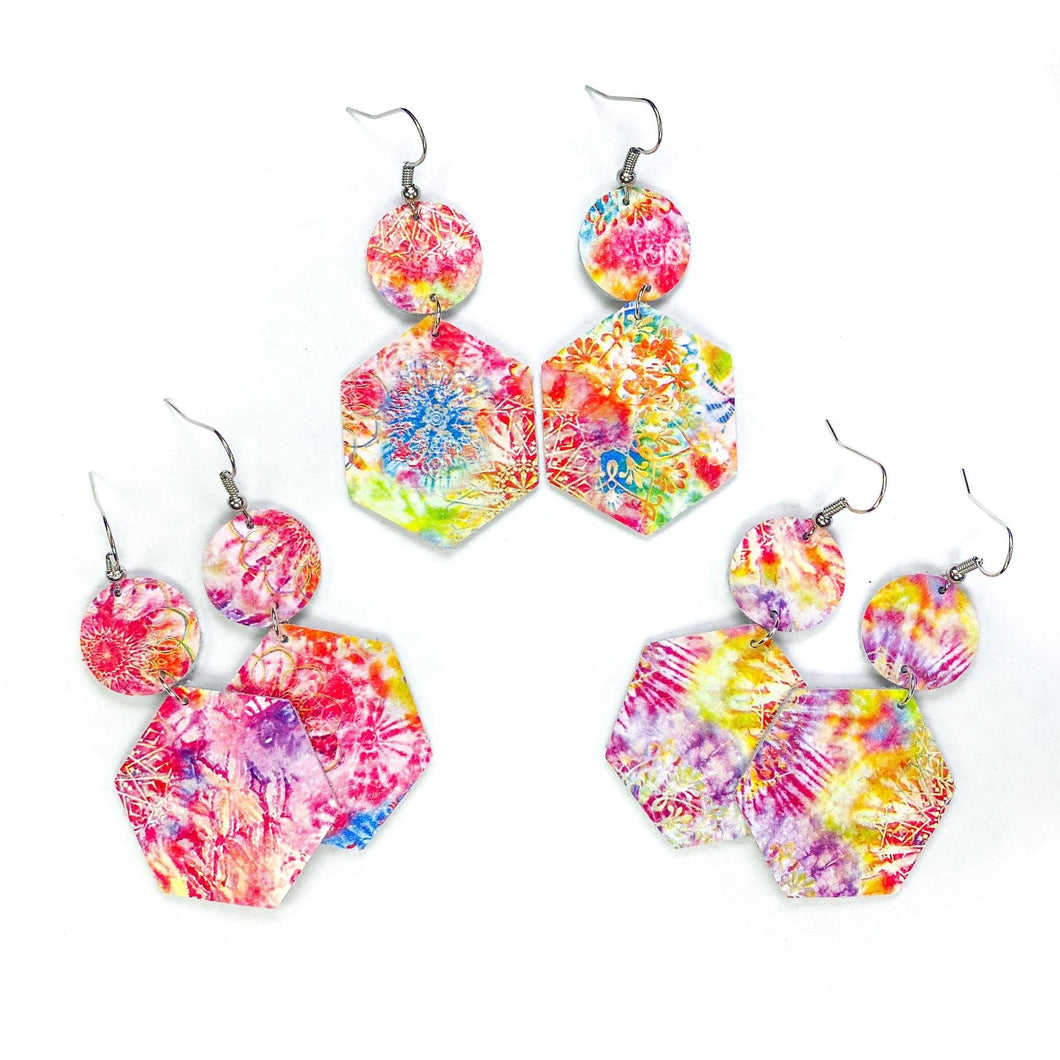 Tie Dye Hexagon Earrings-1 pair