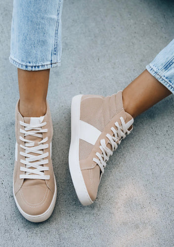 Bree Perforated Hightop Sneaker - Almond