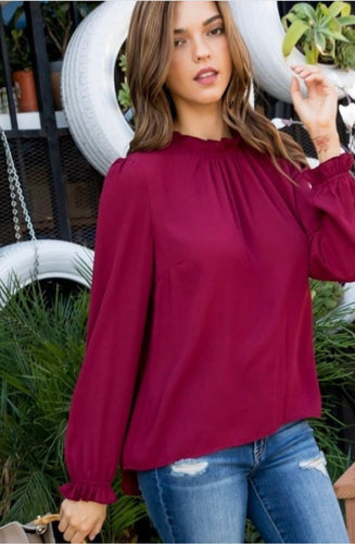 Kerissa Top-Burgundy