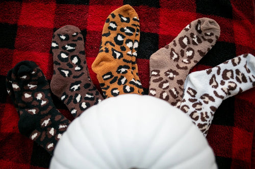 Cozy Leopard Crew Socks-5 Colors