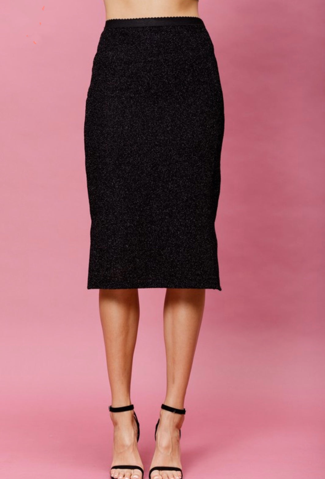 Onyx Metallic Pencil Skirt