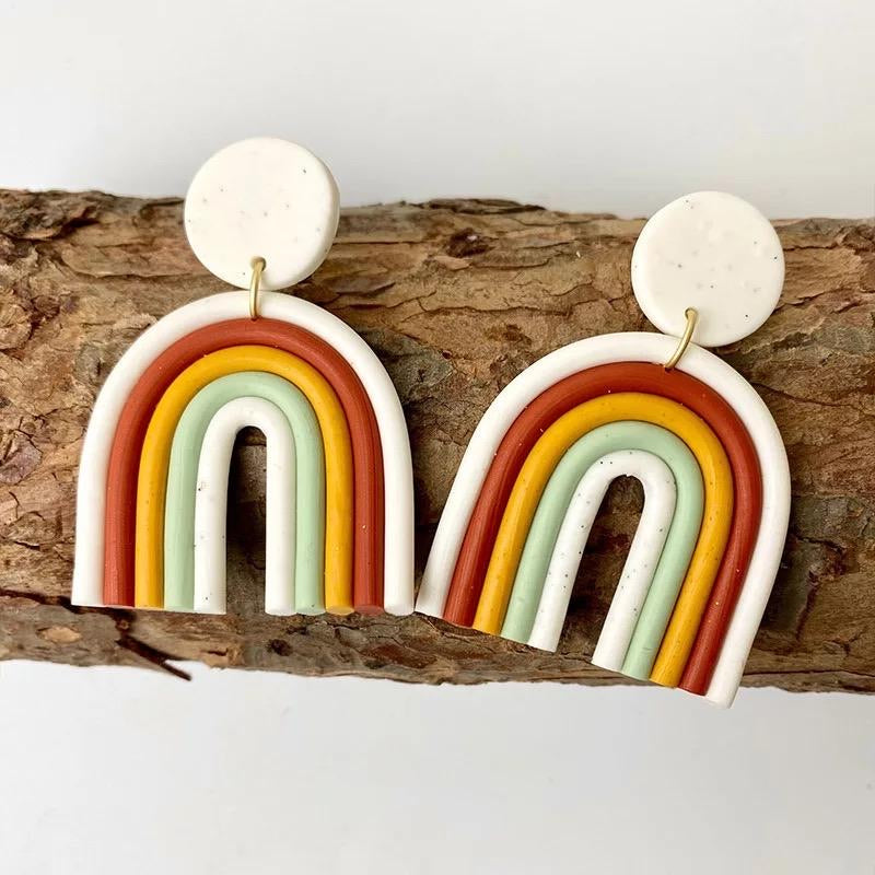 Over the Rainbow clay earrings