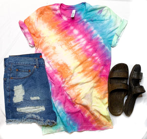 Tie Dye Rainbow Graphic- Solid