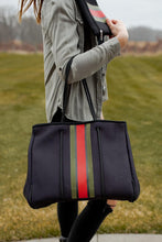 Load image into Gallery viewer, Neoprene Bag - Black w/ Red & Green Center Stripe