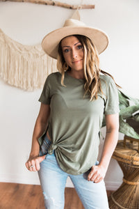 Skyler Split Side Top- Olive