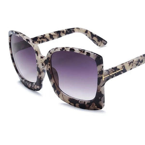 Megan Oversized Sunglasses - Gray Leopard