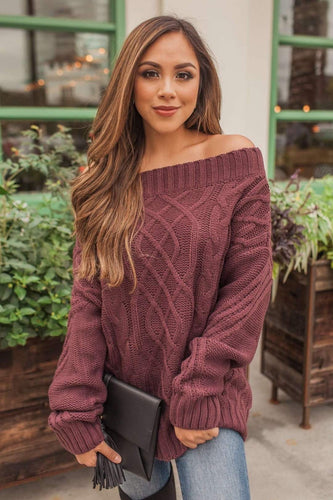 Forget Me Not Off Shoulder Top - Eggplant