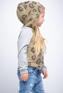(Kids) Sutton Leopard Distressed Hoodie-Mommy + Me