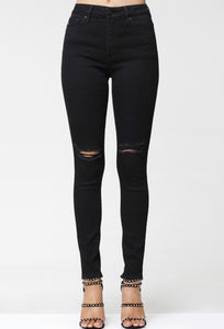Monroe Black Distressed Denim