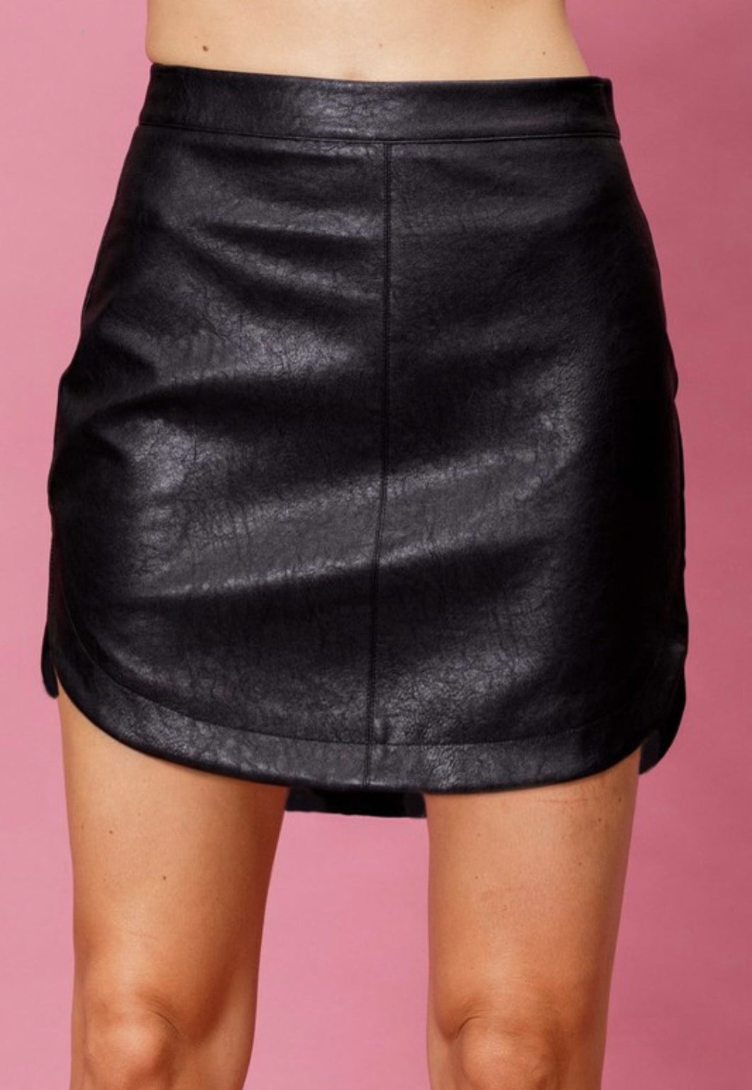 Jessie Hi-Low Leather Skirt-Black