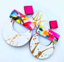 Madeline-Neon Abstract/White Gold Splatter