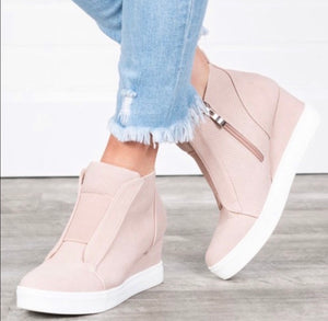 Ashley wedge sneaker- blush