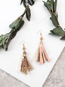 Living in luxury single bead tassel earrings-rose gold