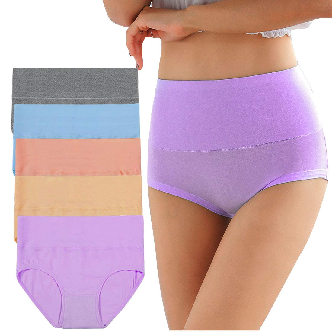 ab6068f4e39d OLIKEME Women's Cotton Underwear,5 Pack Seamless Breathable Solid  Comfortable High Waist Soft Briefs Panties ...