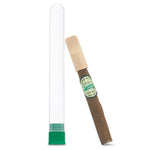 Hemp Cigarella Cigar with wooden tip  and hemp wrap rolled in Little Havana Miami by seasoned cigar rollers packaged in a clear reusable waterproof and smell proof tube.  No tobacco!
