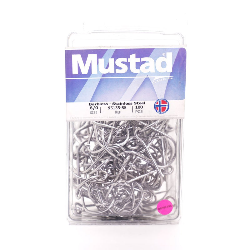 MUSTAD 95135-SS Salmon Siwash - 3x Strong - Barbless Hooks