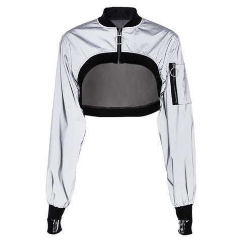 Reflective short bomber jacket