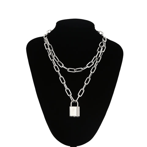 Double layer locked chain necklace