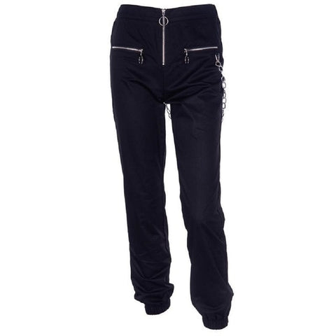 joggers with zippers and side chain
