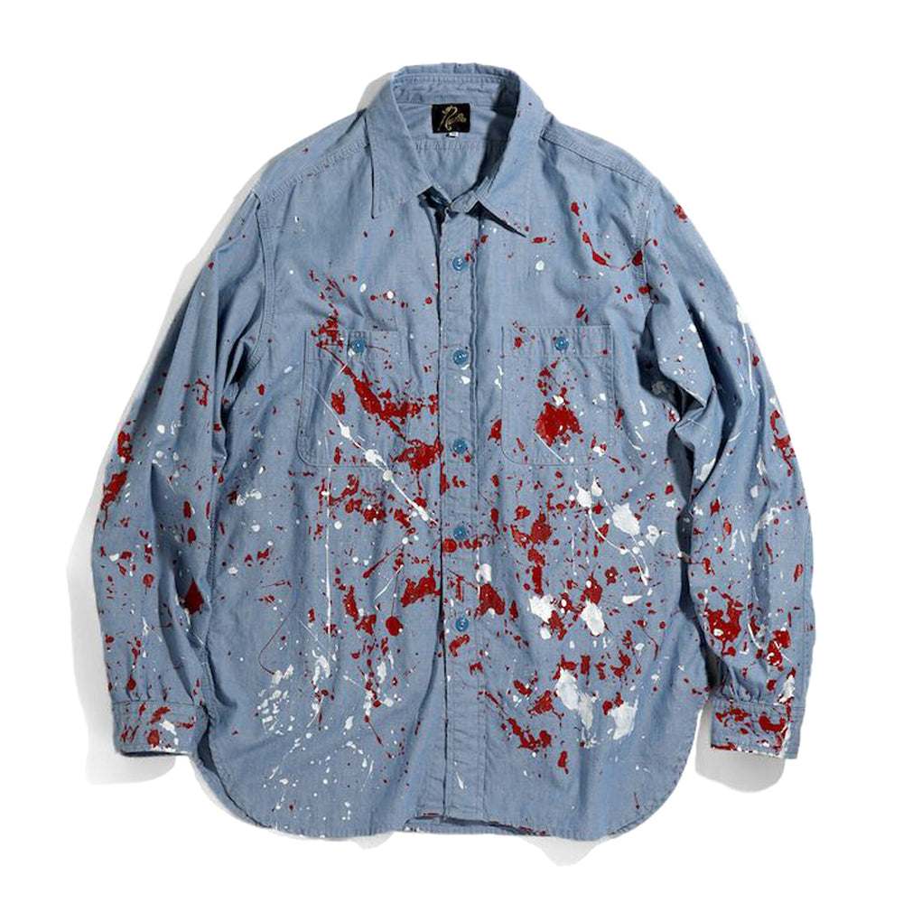 Elbow Patched Work Shirt - Cotton Chambray / Paint - INVINCIBLE