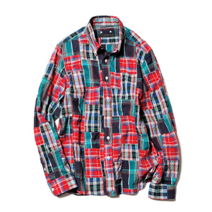 Load image into Gallery viewer, Patch Work Madras Checl Basic B.D Shirt