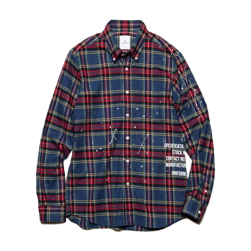 Flannel Check Dripping B.D Shirt - INVINCIBLE