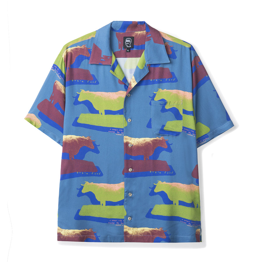 Cow Print Short Sleeve Button Down Rayon