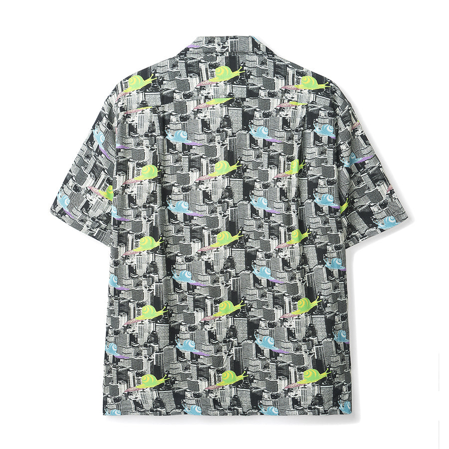 Snail Print Short Sleeve Button Down Rayon