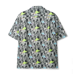Snail Print Short Sleeve Button Down Rayon - INVINCIBLE