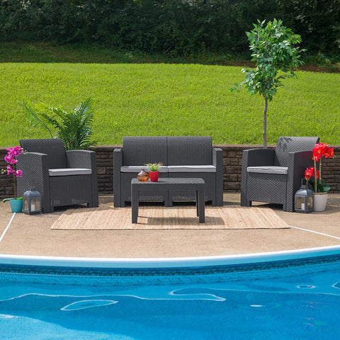 Image of 4 Piece Outdoor Faux Rattan Chair, Loveseat and Table Set in Dark Gray